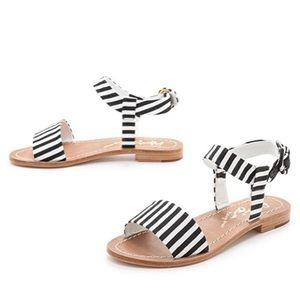 Alice + Olivia Bella Black Stripe Flat Sandal 9 41